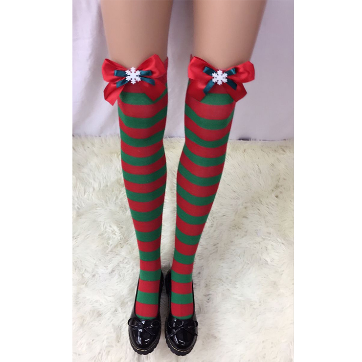 Christmas Red and Green Stripes Stockings with Red Bowknot and Snowflake Maid Cosplay Stockings HG18533