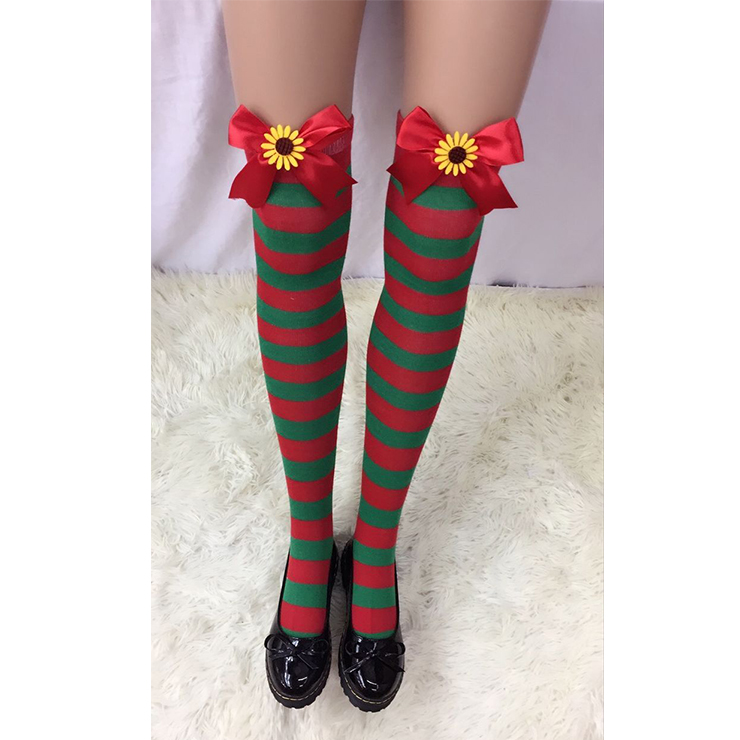 Christmas Red and Green Stripes Stockings with Red Bowknot and Sun Flower Maid Cosplay Stockings HG18548
