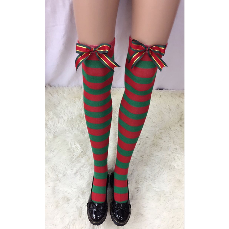 Christmas Red and Green Stripes Stockings with Gifts Ribbon Bowknot Maid Cosplay Stockings HG18550