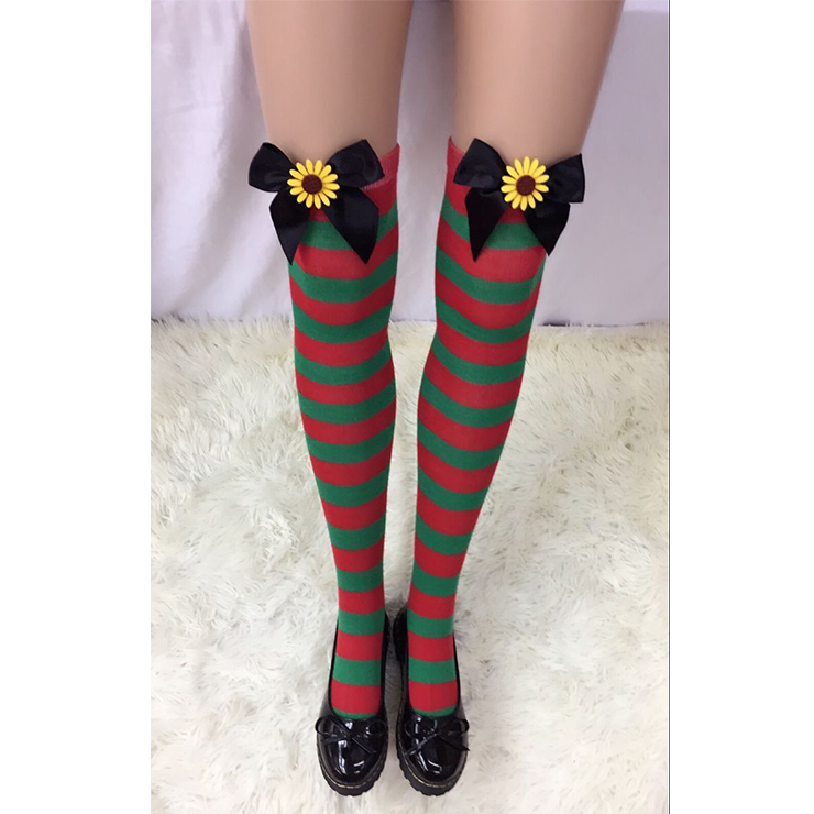 Cute Christmas Stockings, Sexy Thigh Highs Stockings, Red and Green Stripes Cosplay Stockings, Anime Thigh High Stockings, Christmas Red and Green Stripes Stockings, Stretchy Nightclub Knee Stockings, #HG18551