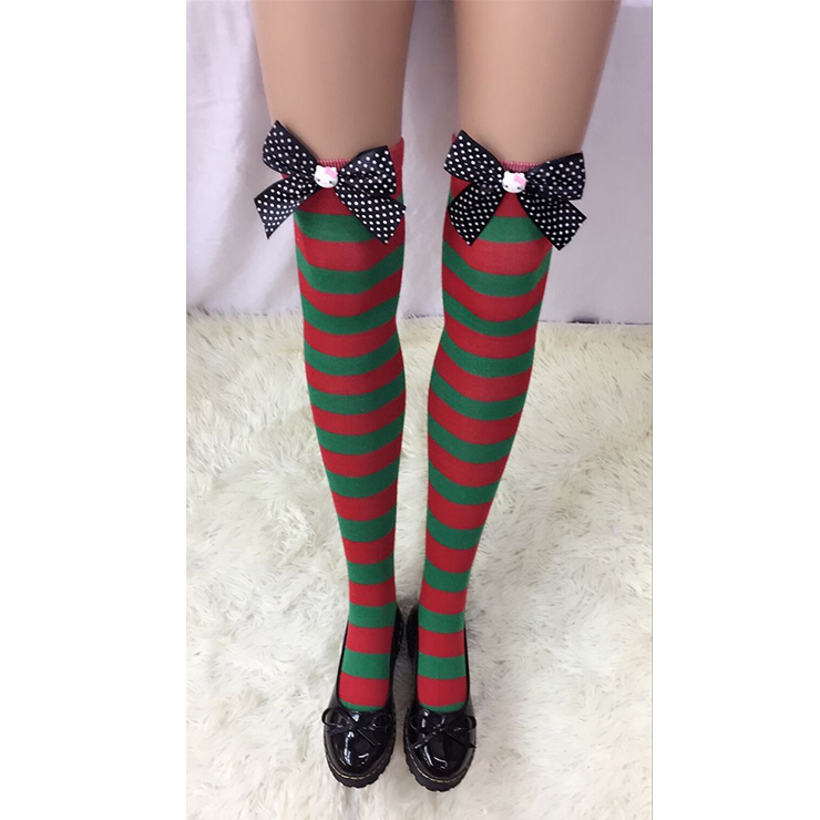 Christmas Red and Green Stripes Stockings with Bowknot and Cartoon Cat Maid Cosplay Stockings HG18552