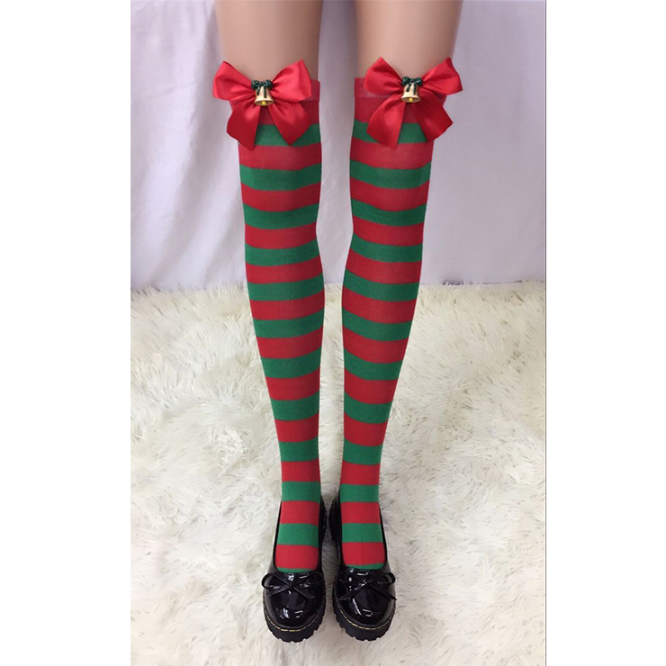 Christmas Red and Green Stripes Stockings with Bowknot and Bell Maid Cosplay Stockings HG18553