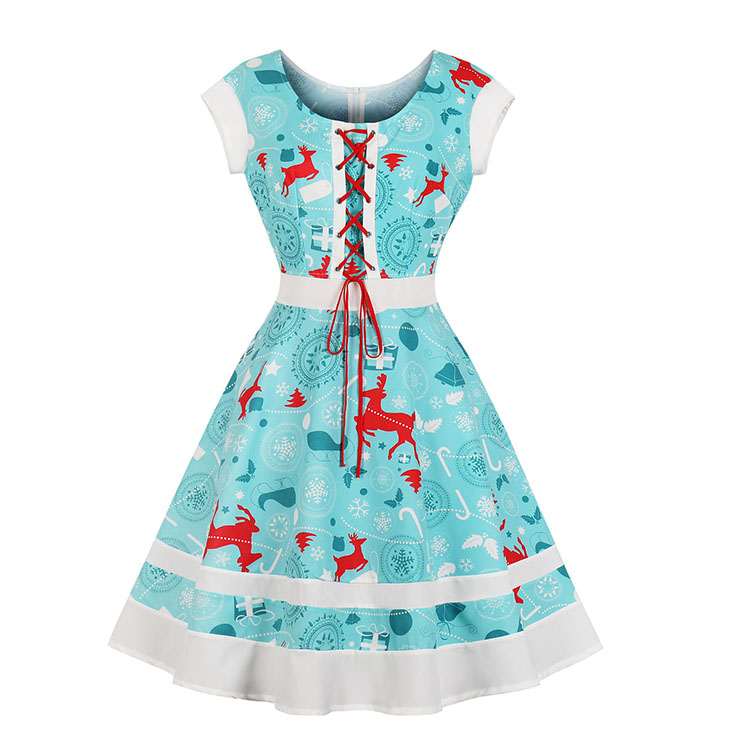 Fashion Round Neck Christmas Reindeer Print Lacing-up Short Sleeves High Waist Swing Dress N18378