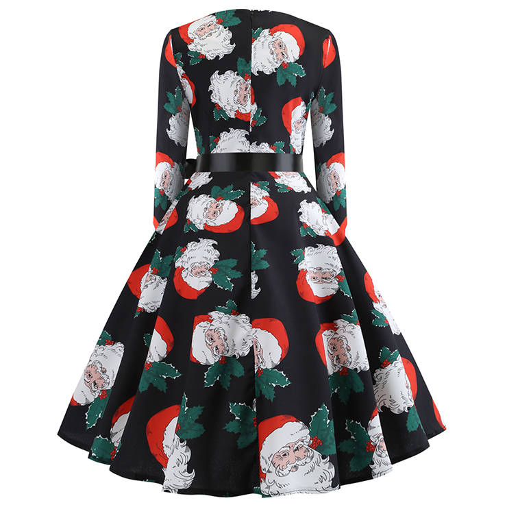 Vintage Dress for Women Snowflake, Christmas Dresses for Women Cocktail Party, Casual Swing Dress, Long Sleeves High Waist Swing Dress, Santa Claus Print Dress, Christmas Party Dress, #N18574
