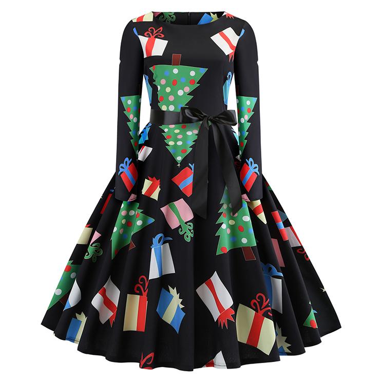 Fashion Christmas Tree and Gifts Long Sleeves Round Neckline High Waist Christmas Midi Dress N18573