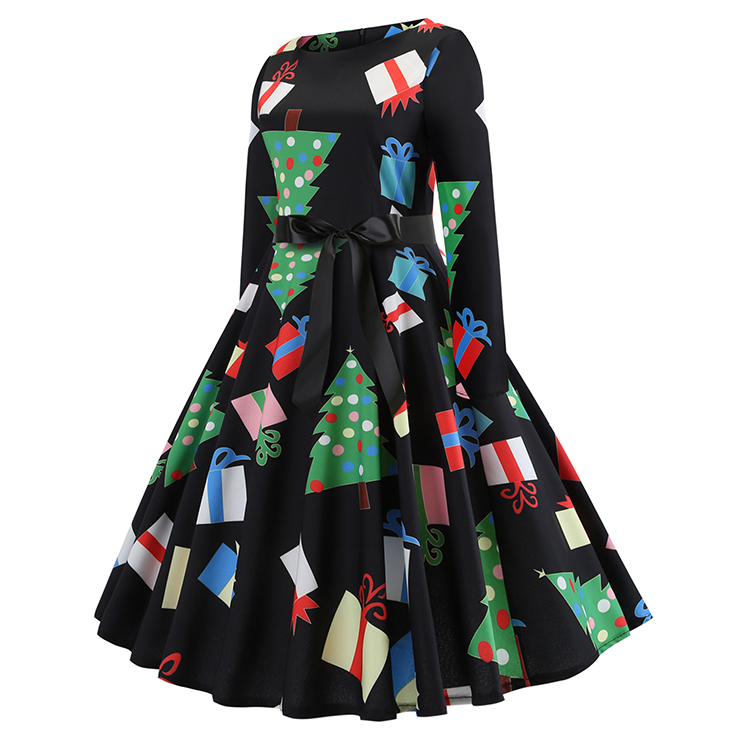 Vintage Dress for Women Snowflake, Christmas Dresses for Women Cocktail Party, Casual Swing Dress, Long Sleeves High Waist Swing Dress, Christmas Holly Dress, Christmas Party Dress, #N18573