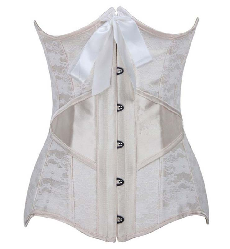 Fashion Elegant Apricot Satin Lace Silk Ribbon Steel Bone Underbust Corset N9747