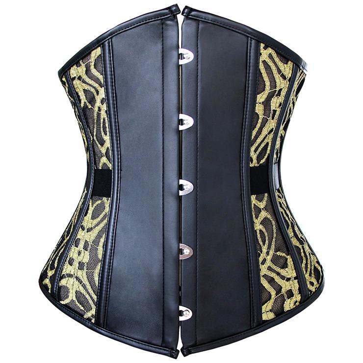 Fashion Black Faux Leather Gold Lace Busk Closure Waist Cincher Underbust Corset N10580
