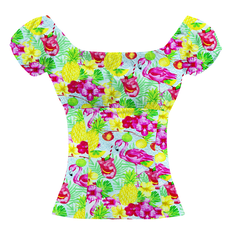 Fashion Casual Tropical Style Flamingo Printed Short Sleeve Off Shoulder Blouse N18023