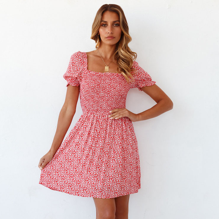 Fashion Red Floral Print Square Collar Short Sleeve Backless Elastic Waist Summer Dress N21104
