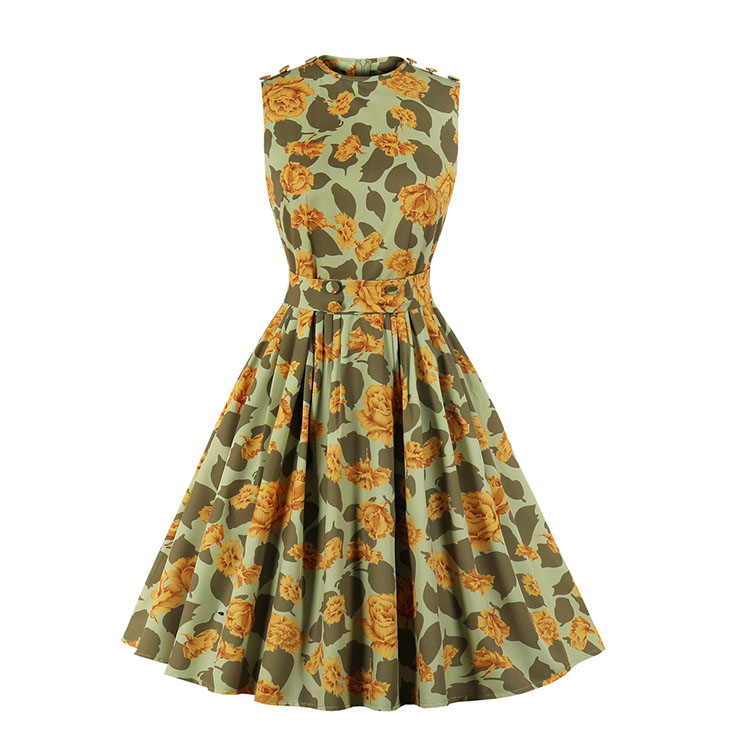 Sexy Floral Print Round Neck Sleeveless Button High Waist Cocktail Party Swing Dress N20968