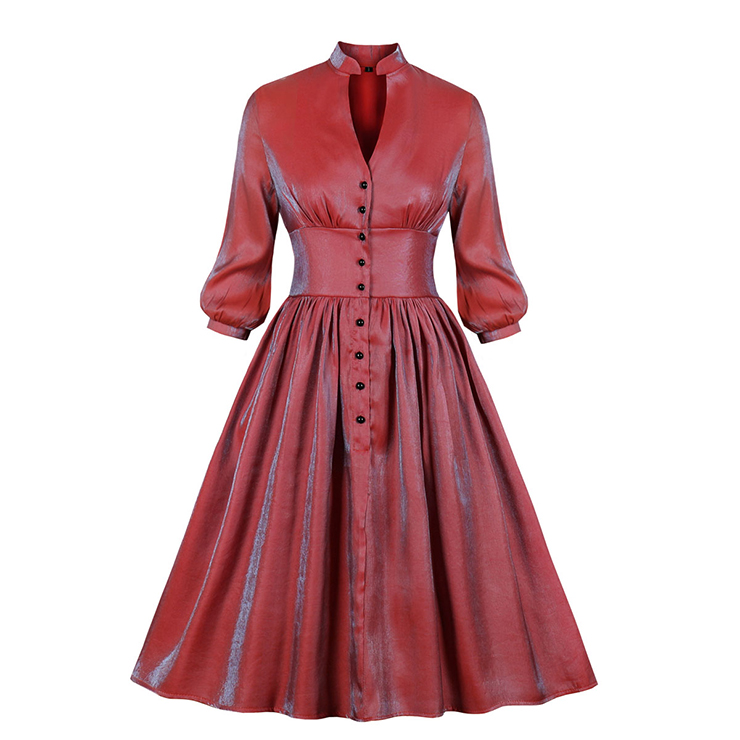 Vintage Gradient High Neck Cut-out Front Button Puff Sleeve High Waist Party Midi Dress N19945