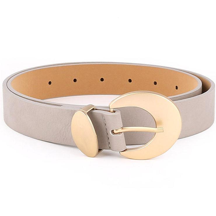Fashion Grey PU Leather Alloy Crescent Moon Buckle Waist Belt Accessory N18782