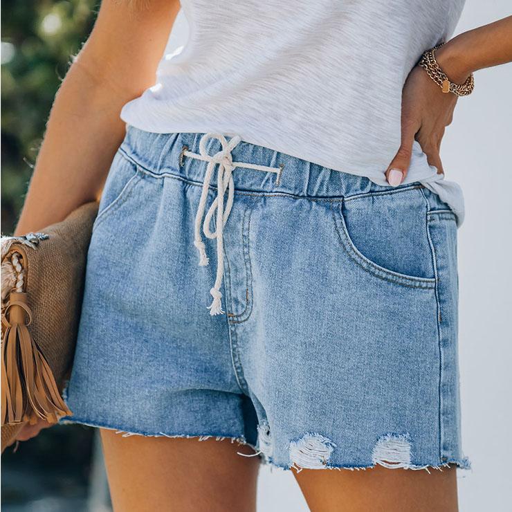 Elastic Waist Lacing Denim Shorts, Women