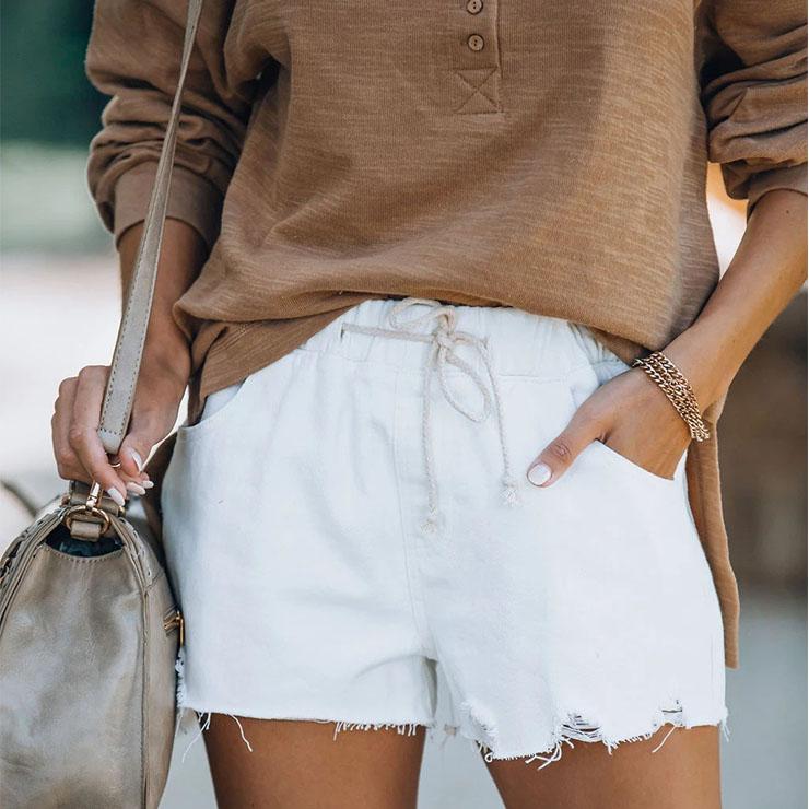 Women's Fashion White Water Wash Hole Burrs Elastic Waist Lacing Denim Shorts PT21197