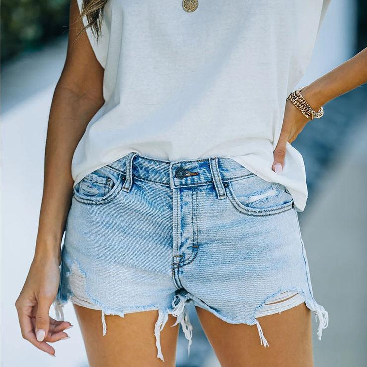 High Waist Denim Shorts, Women
