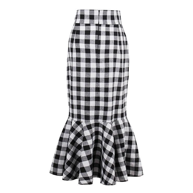 fashion high waisted package hip fishtail plaid skirt n13075