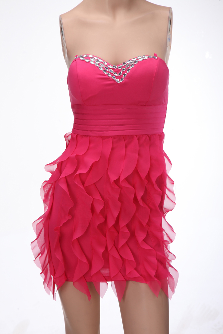 Fashion Hot-Pink Sweetheart High-waisted Dancing Cocktail ...
