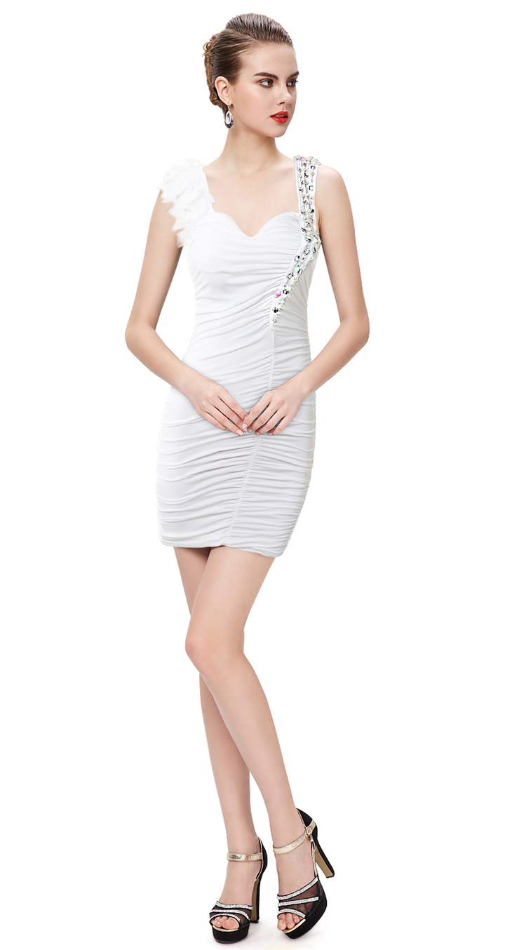 Women S White Pleated Stage Performace Party Mini Dress N11155