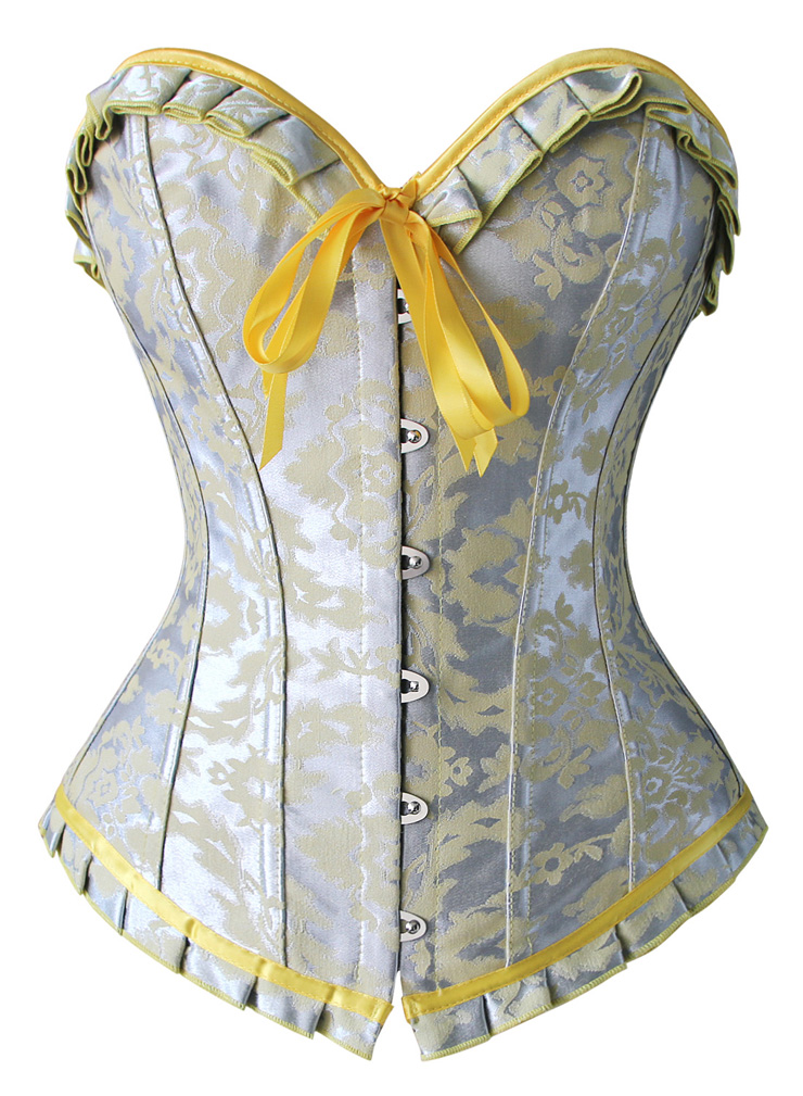 Fashion Silver and Yellow Overbust Corset, Women