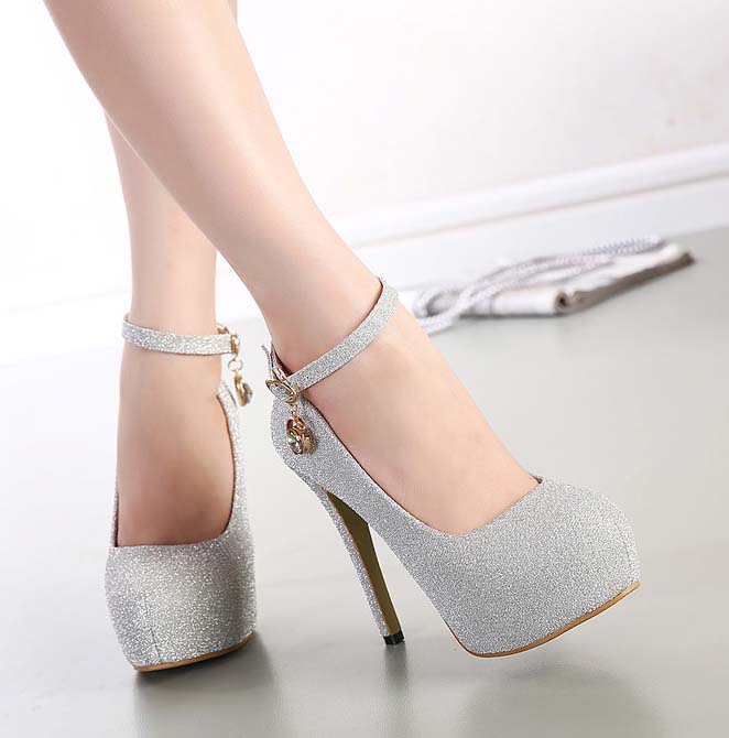 025d8cf3906 Fashion Lady Glitter Silver Ankle Wrap Round Toe High Heels SWS20222