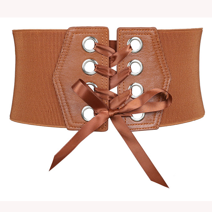 Fashion Leather Lace-up Elastic Wide Waist Corset Belt N15201