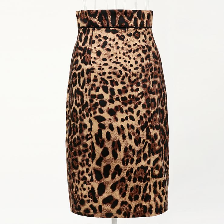 Women's Fashion Leopard Print High Waist Slim-fitting Midi Barrel Skirt N18433