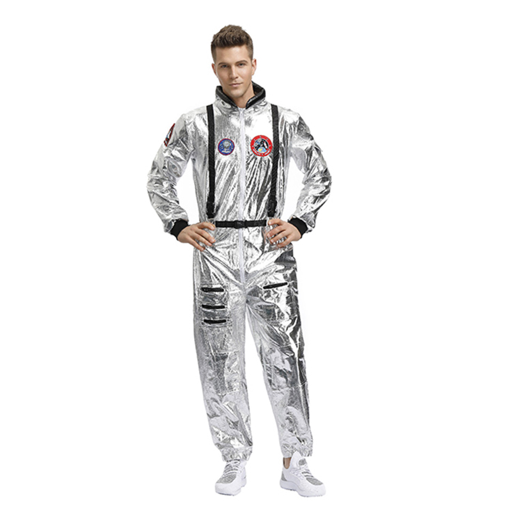 Fashion Men Silver Metallic One-piece Space Suit Adult Cosplay Costume N19620