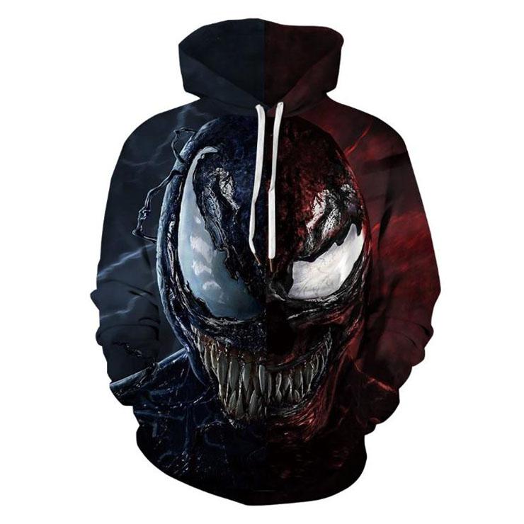 Fashion Unisex Monster 3D Digital Print Film Role Long Sleeve Pullover Hoodie Drawstring Tops N21383