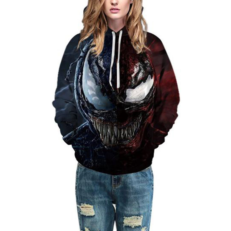 Movie Character Tops, Plus Size Casual Loose Hoodie, Casual Lovers Pack Tops, Casual Long Sleeve Hoodie, Plus Size Pullover Hoodie, Women