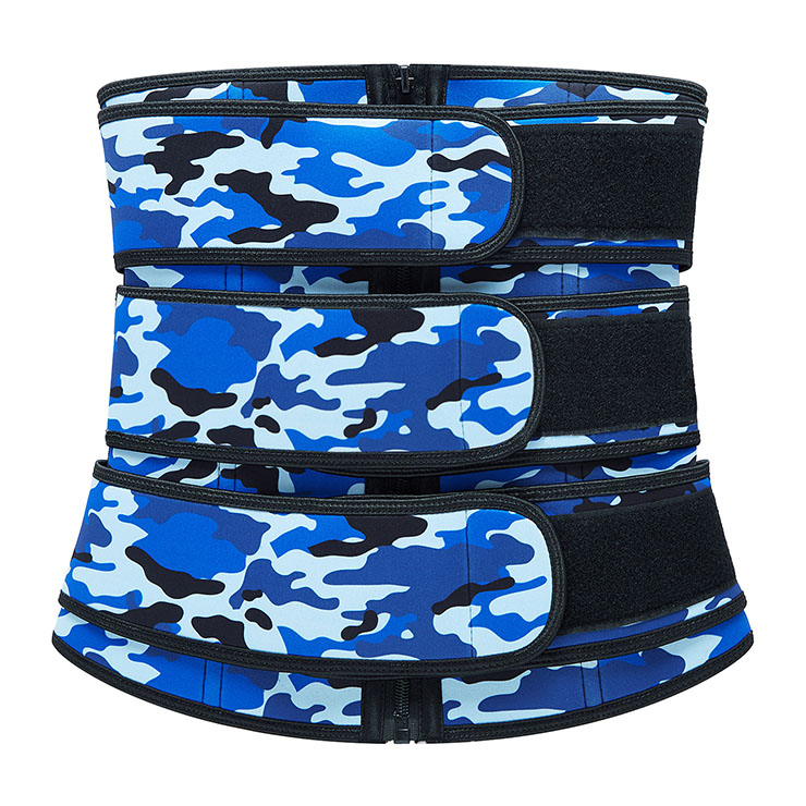 Fashion Blue Camouflage Print Neoprene Velcro Sports Waist Trimmer Bones Body Shaper Belt N20880
