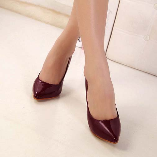 Fashion Women&39s Office Party Wine-Red Pointed Toe Stiletto Shoes