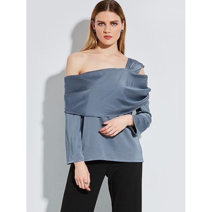 Fashion One Shoulder Plain Long Sleeve Blouse Top N14255