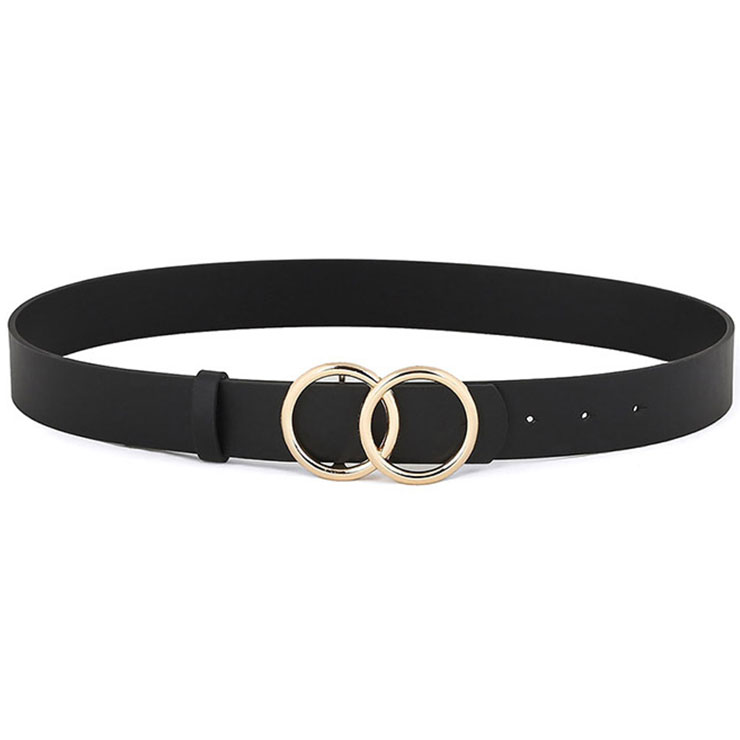 Fashion Black PU Leather Alloy Double Rings Buckle Waist Belt Accessory N18781
