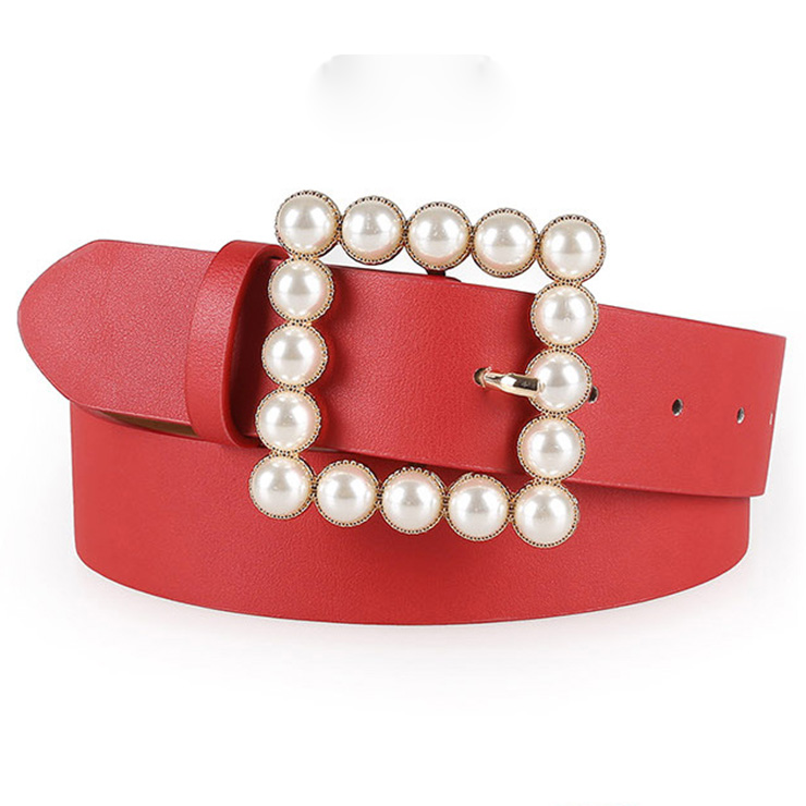 Hot Red PU Leather Pearl Square Buckle Cincher Waist Belt N18773
