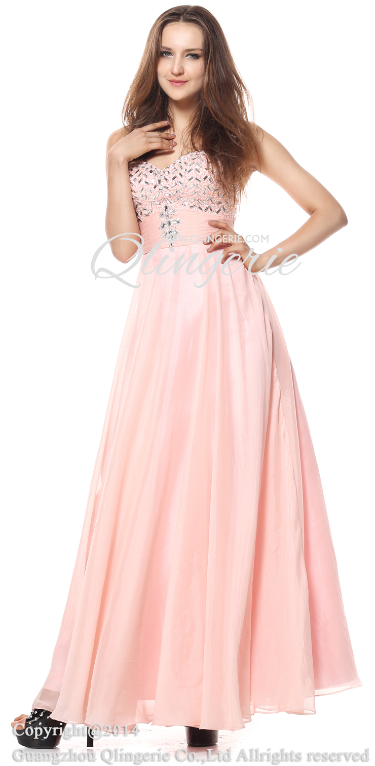 2018 Fashion Pearl Pink A-line Sweetheart Sleeveless Empire Beading ...