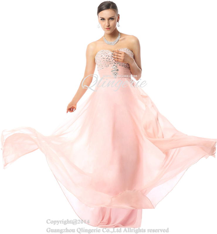 a460979bb6f 2018 Fashion Pearl Pink A-line Sweetheart Sleeveless Empire Beading  Floor-Length Prom Dresses Y30033