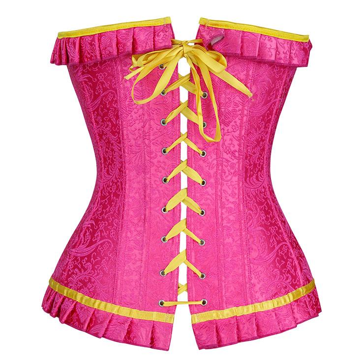 Sexy Pink Overbust Corset, Cheap Outerwear Corset, Pink Ruffles Corset, Party Corset,Plastic Bones Overbust Corset, Women