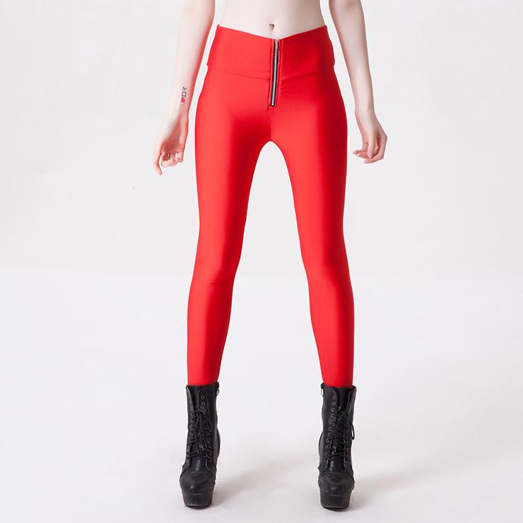 Fashion Stretchy Plain Zipper Pants Tights Workout
