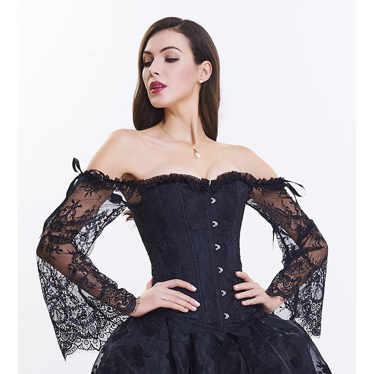 Outerwear Corset for Women, Fashion Body Shaper, Cheap Shapewear Corset, Womens Bustier Top, Plastic Boned Corset, Black Corset for Women, #N14474