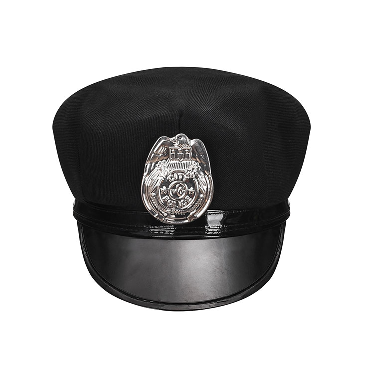 Fashion Black Police Cap With Silver Plastic Badge Adult Roleplay Hats Costume Accessories J20909