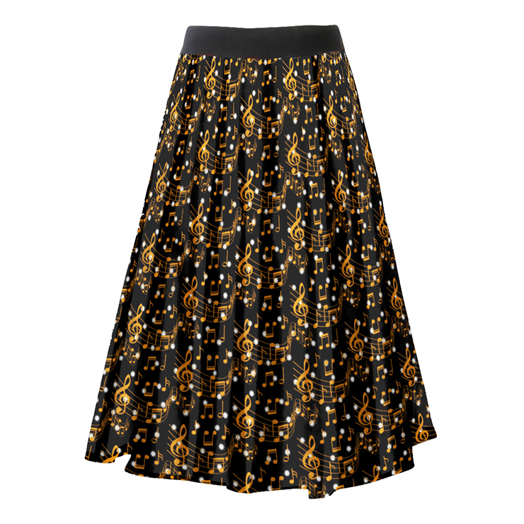 Fashion Casual Musical Note Printing Longuette High Waist A-Line Skirt N18795