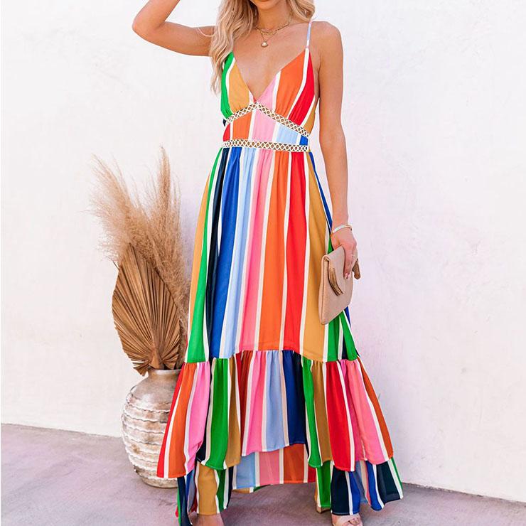 Fashion Rainbow Stripes Print Deep V  Backless Lace Stitching Ruffle Maxi Slip Dress N21016