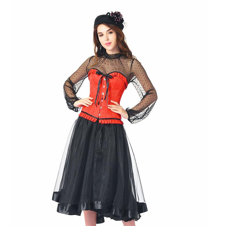 Fashion Red Brocade Ruffles Corset Black Polka Dots Blouse High-waisted Skirt Set N20242