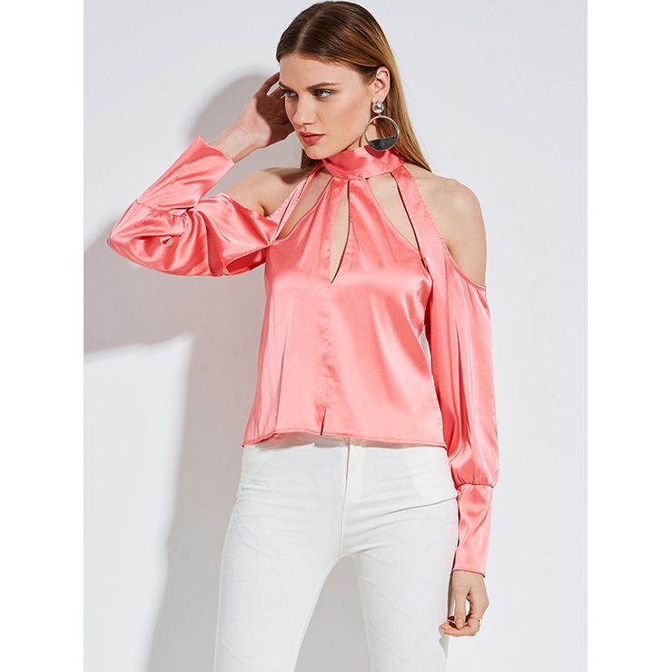 Fashion Sexy Pink Stand Collar Hollow Long Sleeve Plain Blouse Top N14258
