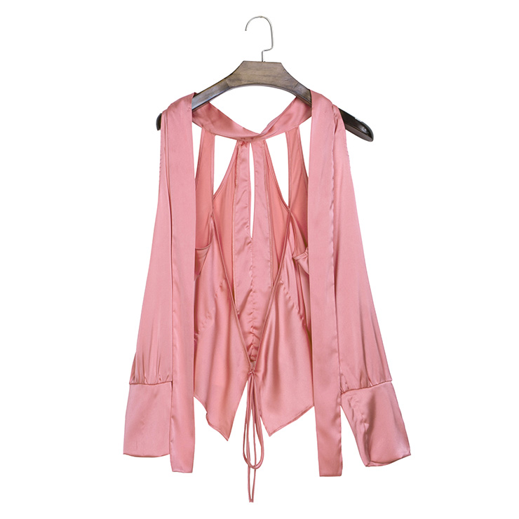 Off Shoulder Pink Shirt, Slim Polyester Shirt, Off Shoulder Blouse, Sexy Crop Top, Stand Collar Blouse Top, Sexy Blouse for Women, #N14258