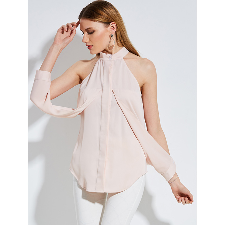 Fashion Sexy Pink Stand Collar Plain Blouse Top N14254