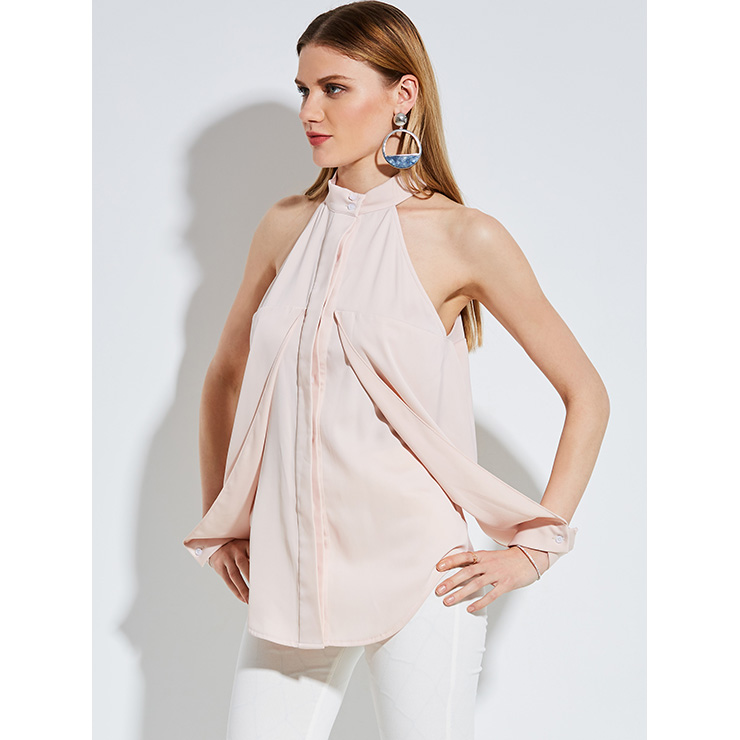 Off Shoulder Pink Shirt, Slim Polyester Shirt, Off Shoulder Blouse, Sexy Crop Top, Stand Collar Blouse Top, Sexy Blouse for Women, #N14254