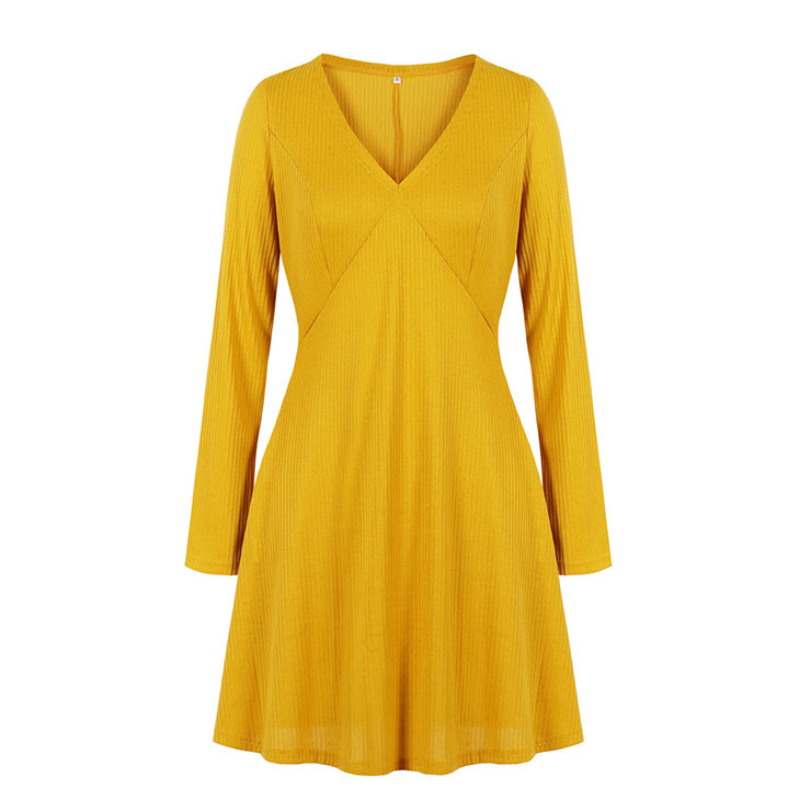Fashion Solid Color V Neck Long Sleeve High Waist Daily Casual Knitted Dress N20582