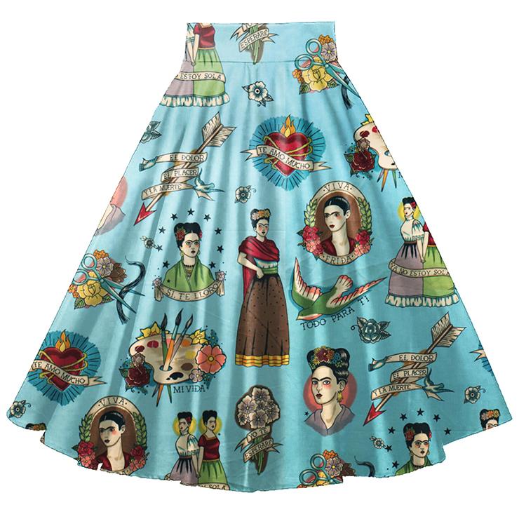 Fashion Casual Spanish Girl Printing High Waist Flared A-Line Skirt N18022